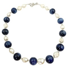 Statement Blue Kyanite and White Baroque Pearl Necklace