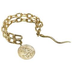 Statement Chunky Chain Cuff Bangle Bracelet Virgin Mary Medal Ruby J Dauphin