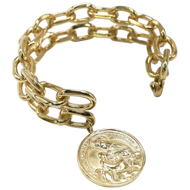 Statement Chunky Chain Cuff Bangle Bracelet Medal Bronze J Dauphin