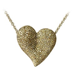 Statement Concave Heart pendant with Champagne Diamonds 18 Karat Gold Chain
