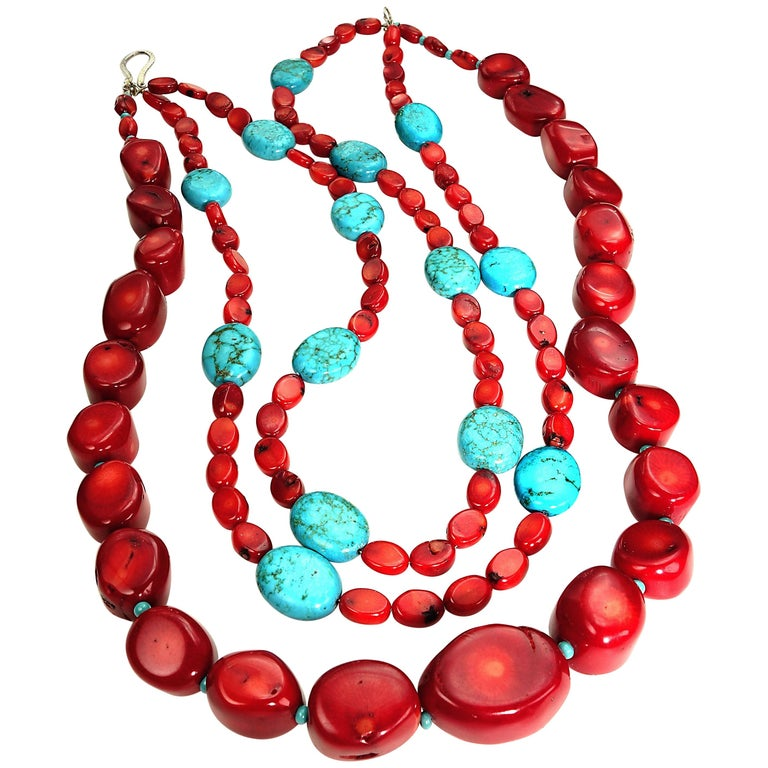 Statement Coral and Turquoise Triple Strand Necklace For Sale