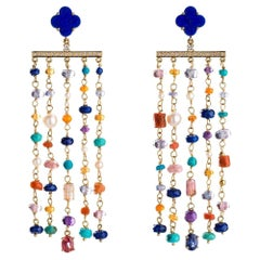 Statement Earrings with Dangling Diamonds and Gemstones in 18 Karat Gold