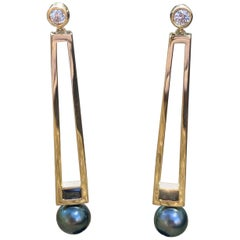18 Karat Gold Diamond, Black Spinel, and Tahitian Pearl Statement Earrings