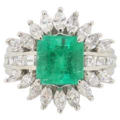 Statement Emerald and Diamond Halo Ring Made in Platinum