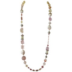 Statement Gem Necklace with South Sea and Tahitian Pearls in 18 Karat Rose Gold