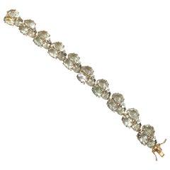 Statement Green Amethyst & White Sapphire Link Bracelet