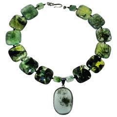 Gemjunky Statement Green Prehnite Necklace with Lodalite Pendant