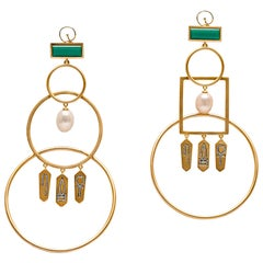 Statement Interlocked Hoop Earrings with Hieroglyphic Amulets Vermeil Gold
