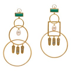 Statement Interlocked Hoop Earrings with Hieroglyphic Inscription Vermeil Gold