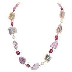 Statement Kunzite, Ruby, and Quartz Gemstone Necklace with a Diamond Gold Clasp