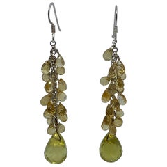 Statement Lemon Quartz and Citrine Briolette Dangle Earrings in Sterling Silver