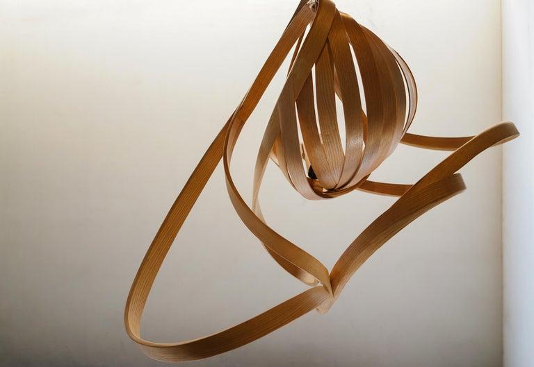 Woodwork Statement Lighting, Sculptural Bentwood Chandelier by Raka Studio For Sale