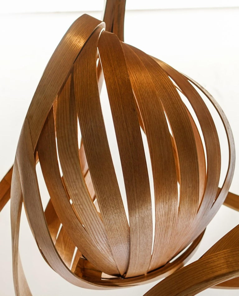 Contemporary Statement Lighting, Sculptural Bentwood Chandelier by Raka Studio For Sale