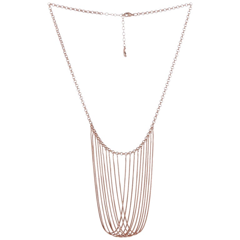 Statement Multi Snake Chain Rose Gold-Plated Brass Greek Necklace For Sale