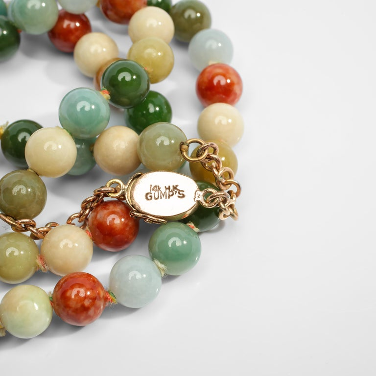 Bead Statement Necklace in Jade and Gold by Gump's San Francisco, Midcentury For Sale