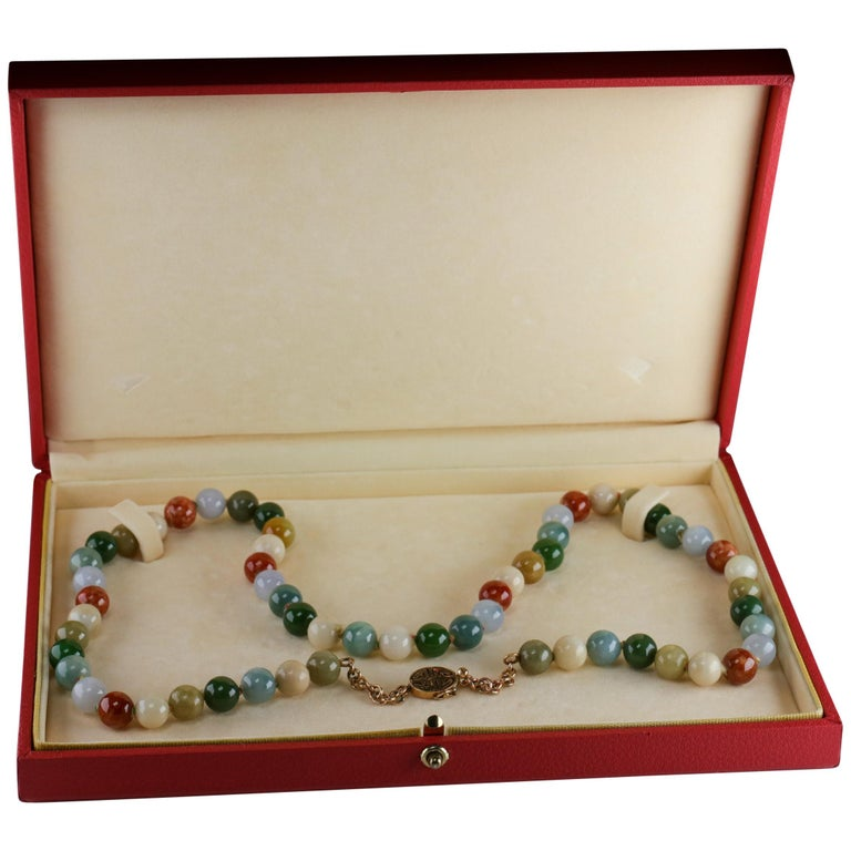 Statement Necklace in Jade and Gold by Gump's San Francisco, Midcentury For Sale