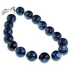 Gemjunky necklace of Giant Blue Kyanite Accented with Sparkling Crystals