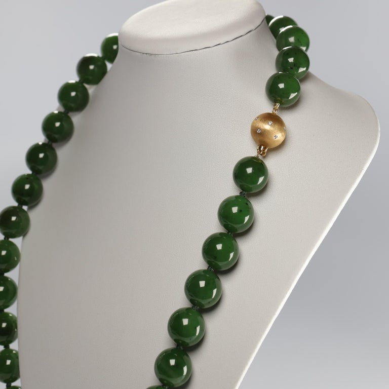 Women's or Men's Statement Necklace of Jade, Gold and Diamonds For Sale