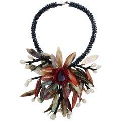 Statement necklace pearls, sea shells and Swarovski stones