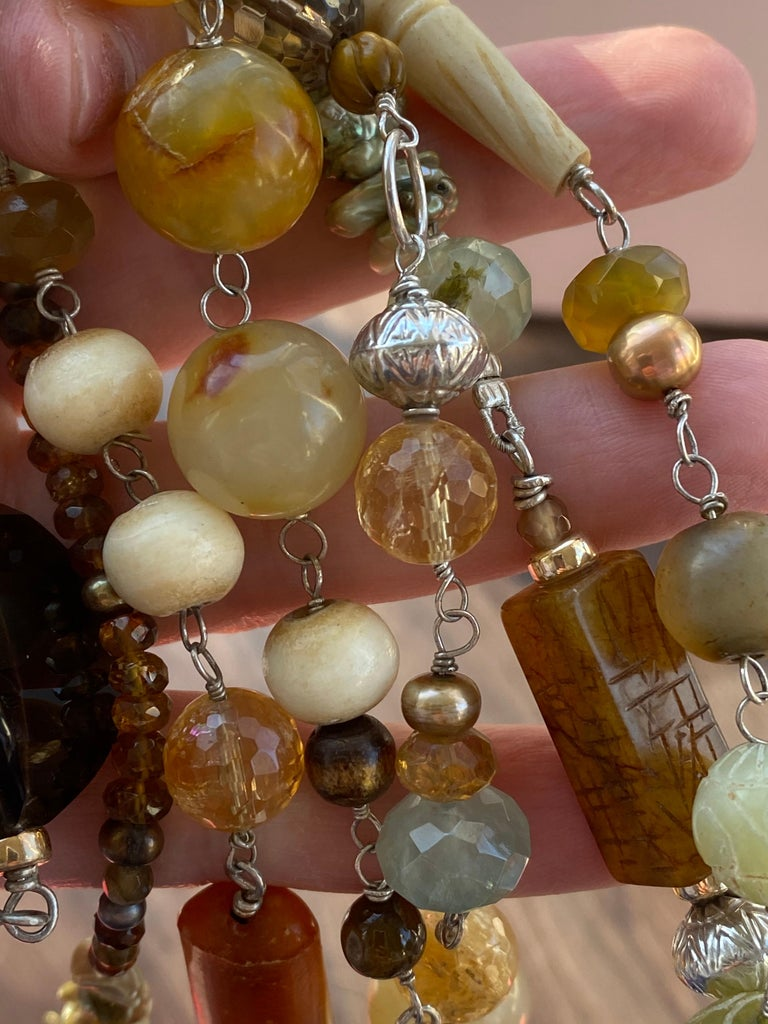 Statement Necklace with Amber, Brown Jade, Smokey Quartz, Citrine in Silver For Sale 4