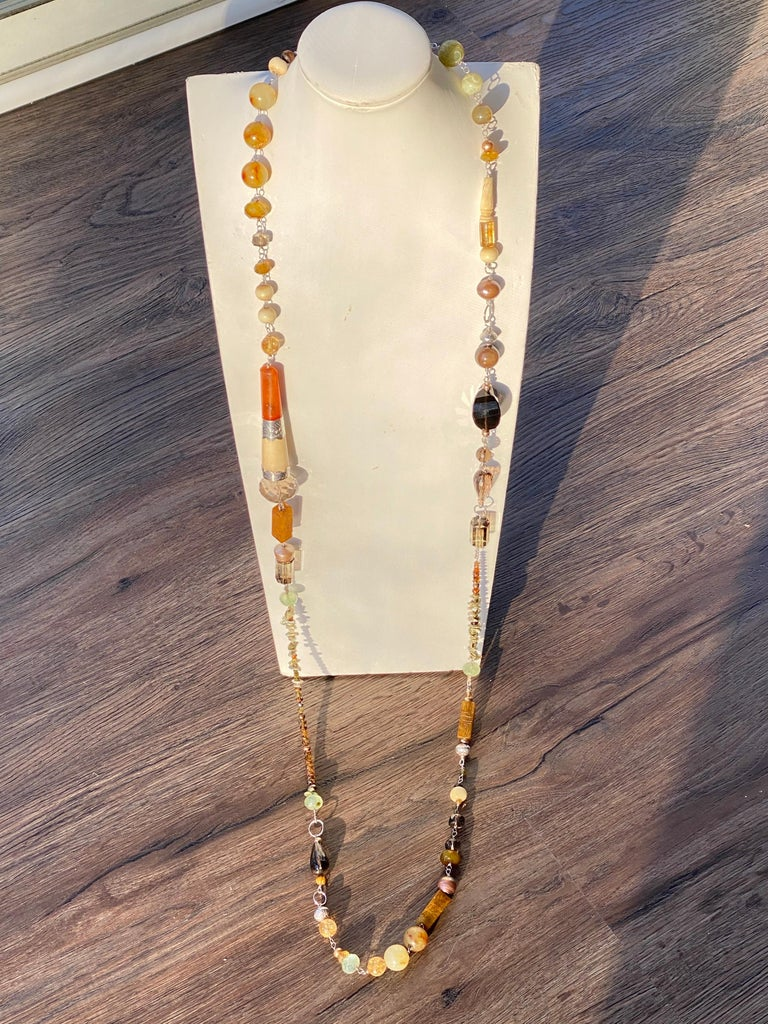 Artisan Statement Necklace with Amber, Brown Jade, Smokey Quartz, Citrine in Silver For Sale