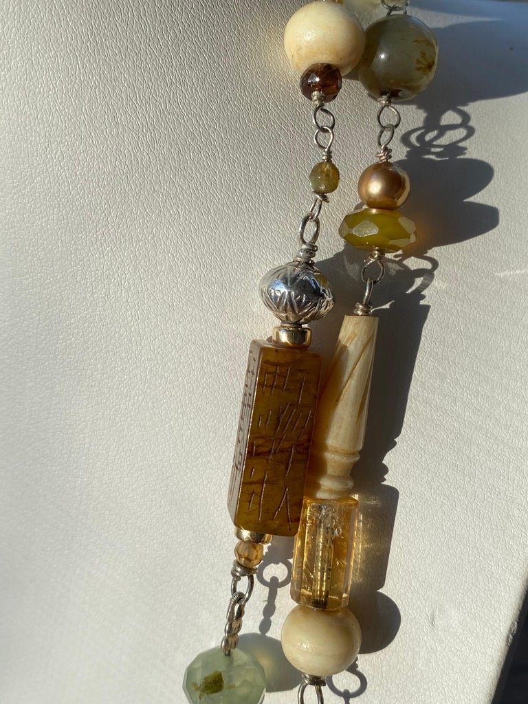 Statement Necklace with Amber, Brown Jade, Smokey Quartz, Citrine in Silver For Sale 2