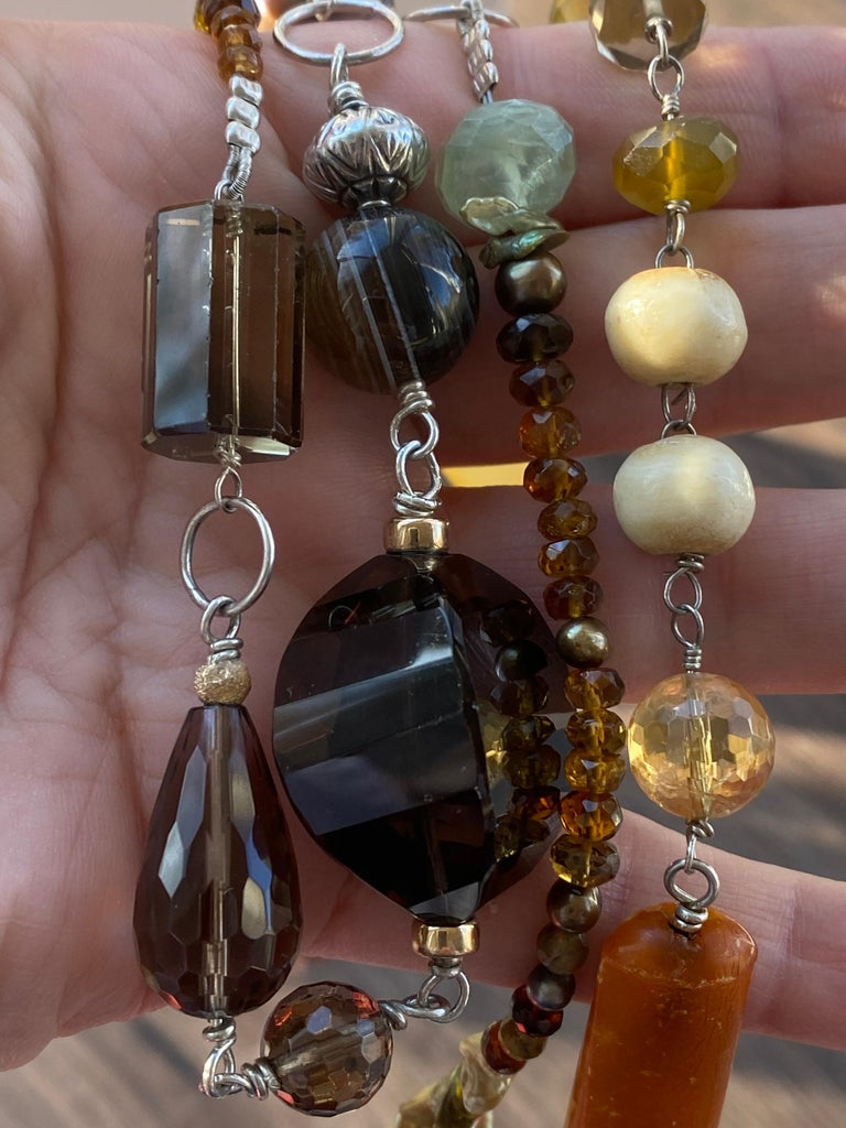 Statement Necklace with Amber, Brown Jade, Smokey Quartz, Citrine in Silver For Sale 3