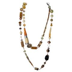 Statement Necklace with Amber, Brown Jade, Smokey Quartz, Citrine in Silver
