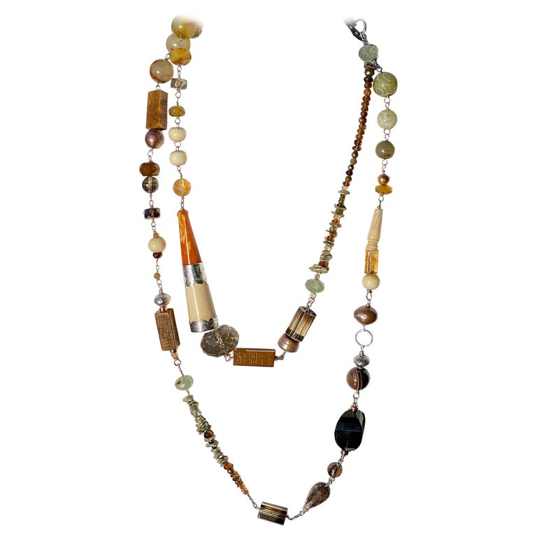 Statement Necklace with Amber, Brown Jade, Smokey Quartz, Citrine in Silver For Sale