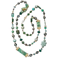 Presentation Necklace Jaidete, Jade, Tahitian Pearl and Multi Gems 18 Karat Gold