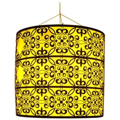 Statement Orange Fretwork Metal Lights, 20th Century
