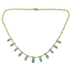 Statement Oval Emerald Drop and Diamond Yellow Gold Evening Necklace
