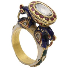 Statement Peacock Ring with Diamond and Enamel Handcrafted in 18 Karat Gold