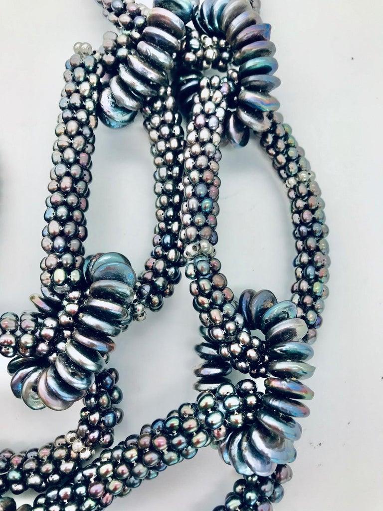 Uncut SYLVIA GOTTWALD, Black  Pearl  Necklace, labor intensive Statement ,Eco -luxe,   For Sale