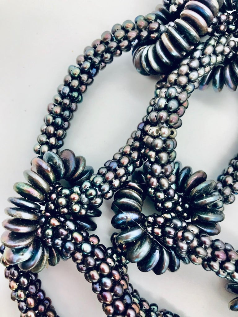 SYLVIA GOTTWALD, Black  Pearl  Necklace, labor intensive Statement ,Eco -luxe,   In New Condition For Sale In Washington DC, DC
