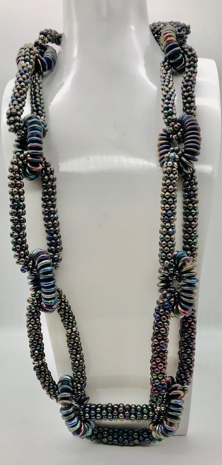 SYLVIA GOTTWALD, Black  Pearl  Necklace, labor intensive Statement ,Eco -luxe,   For Sale 2