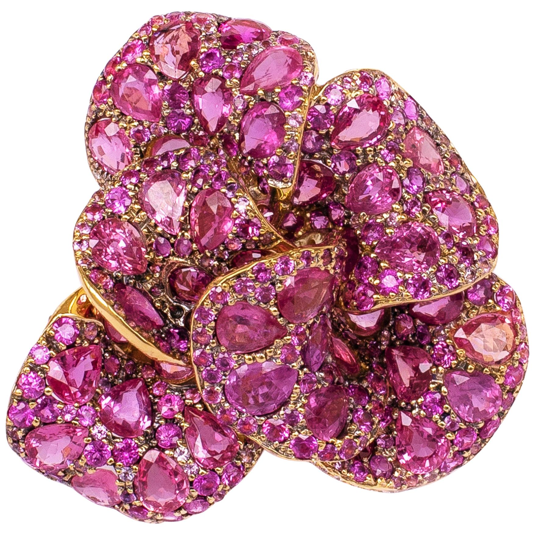 """Rosior by Manuel Rosas Pink Sapphire and Diamond Yellow Gold """"Flower"""" Brooch"""