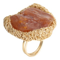 Statement Raw Baltic Cognac Amber Cocktail Ring by Sheila Westera in Stock