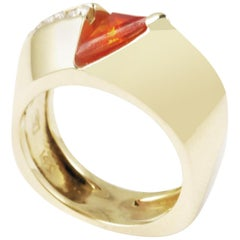 Statement Ring Fire Opal Diamond 14 Karat Yellow Gold Contemporary Art Fashion