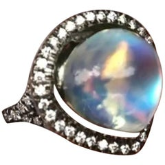 Statement Royal Blue Moonstone Ring with Diamond Accent