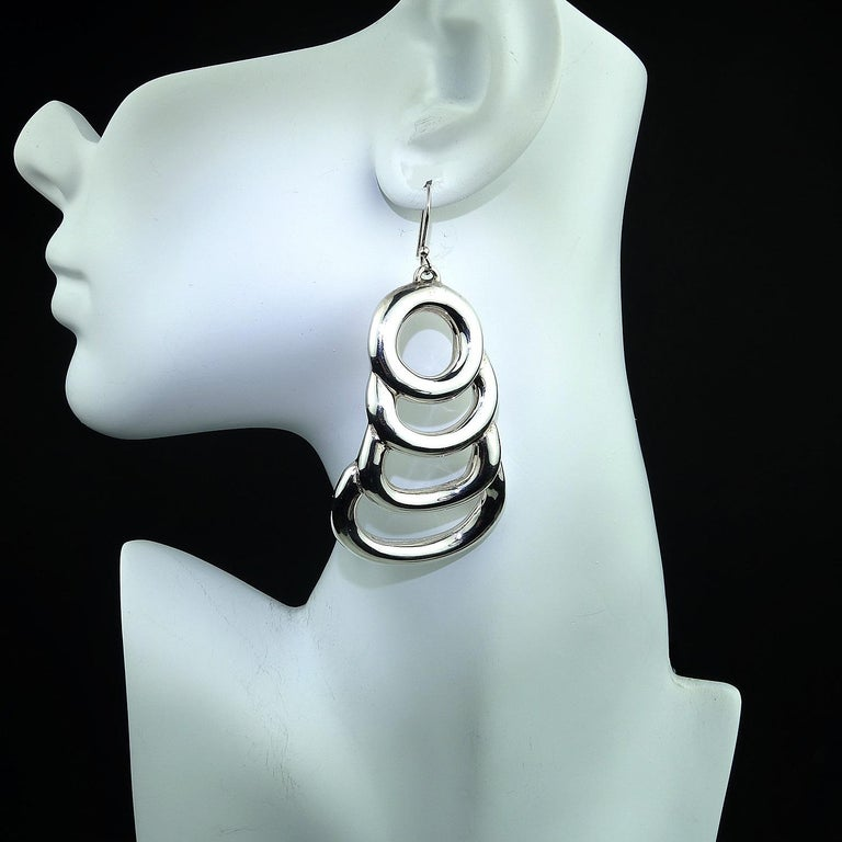 Statement Sterling Silver Long Light Earrings In New Condition For Sale In Tuxedo Park , NY