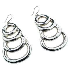 Statement Sterling Silver Long Light Earrings