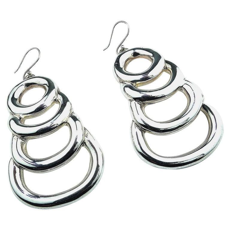 Statement Sterling Silver Long Light Earrings For Sale