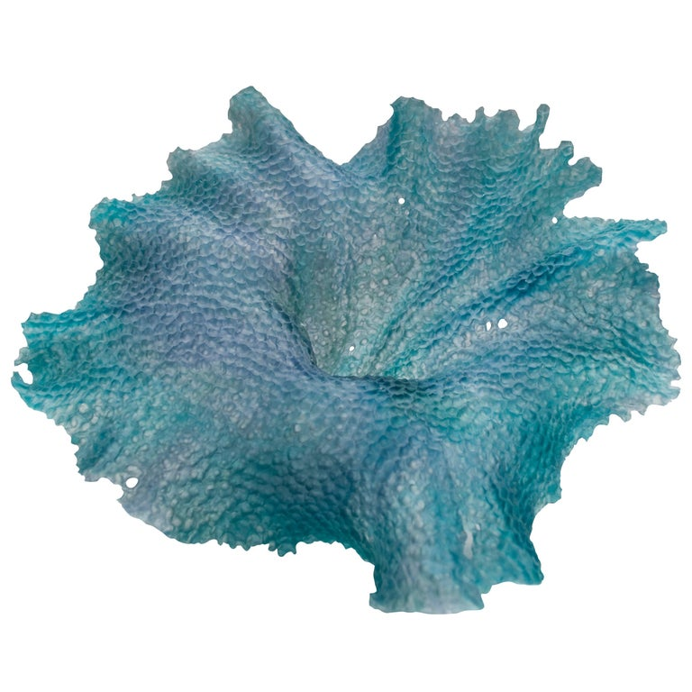 Static Movement, a Unique Teal and Grey Glass Sculpture by Monette Larsen For Sale
