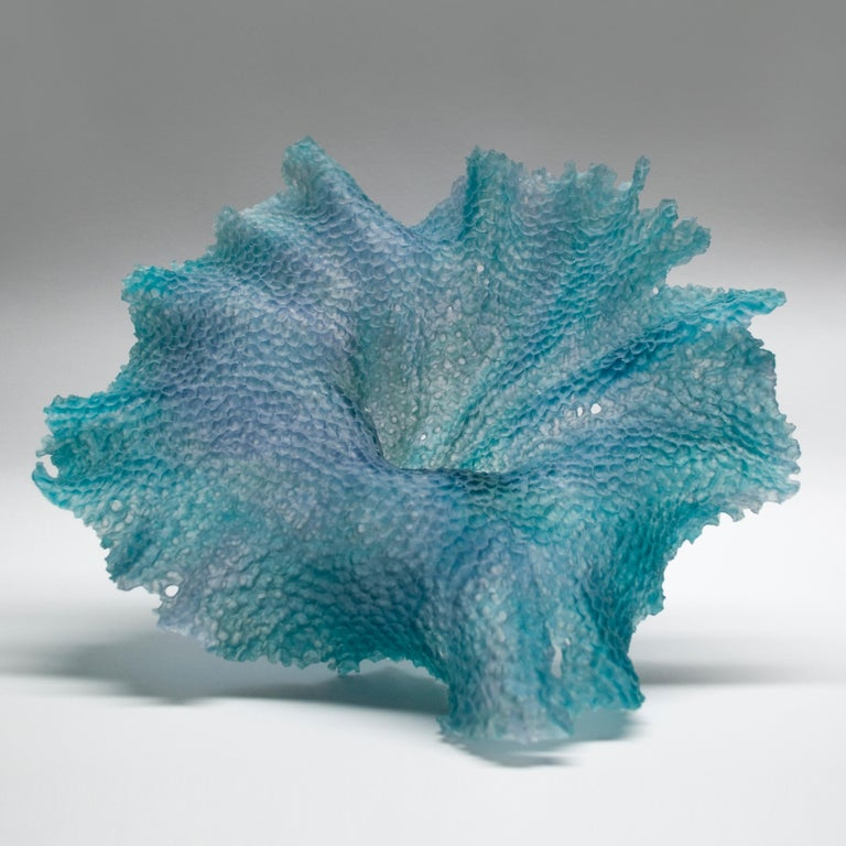 Organic Modern Static Movement, a Unique Teal and Grey Glass Sculpture by Monette Larsen For Sale