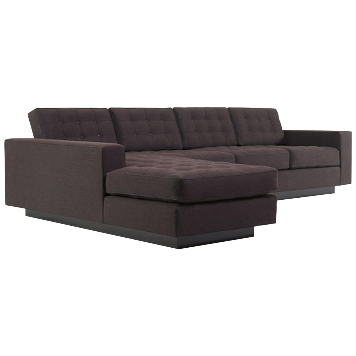 Station Sectional Button Tufting Loose Seat Back Cushions Base Lacquer Self Welt