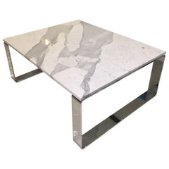 Statuary Stone Marble Coffee Table with Polished Chrome Skid Base by Draenert