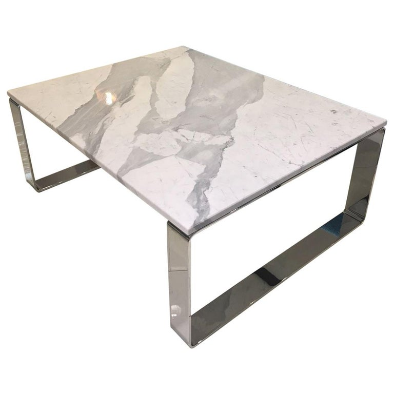 Stone Base Coffee Table.Statuary Stone Marble Coffee Table With Polished Chrome Skid Base By Draenert