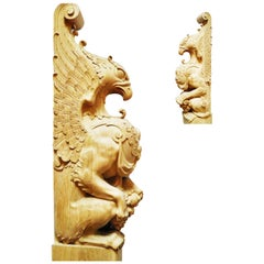 Statue Griffin for Staircase, Carved Wood Newel Post Statue