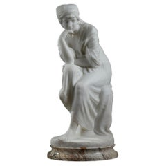 """Statue in White Marble """"Meditative Young Woman"""", Signed Pugi"""